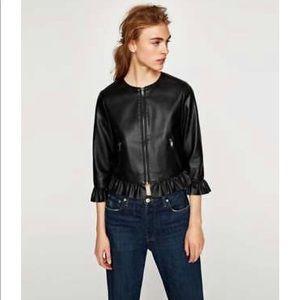 Zara Black Faux Leather Ruffle Jacket Sz M